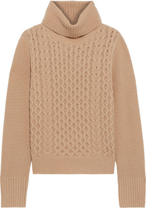 Iris & Ink Billie Cable-knit Cashmere Turtleneck Sweater