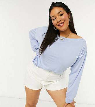 In The Style Plus x Jac Jossa loungewear ribbed off shoulder sweat top in blue