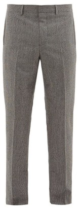 Givenchy Slit Hem Herringbone Wool Trousers - Mens - Black And White