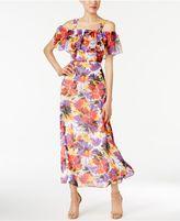 Nine West Floral-Print Cold-Shoulder Maxi Dress