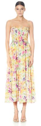 ML Monique Lhuillier Printed Chiffon Smocked Dress