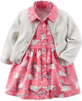 Carter's 2-Pc. Cardigan & Bird-Print Shirtdress Set, Baby Girls