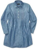 Ralph Lauren 7-16 Pintucked Chambray Shirtdress