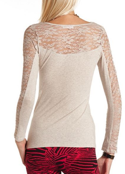 Charlotte Russe Lace Inset Basic Tee