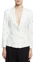 Derek Lam Paint Splatter Two-Button Blazer, Black/White