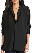 Polo Ralph Lauren Banded Collar Long Sleeve Solid Silk Georgette Shirt
