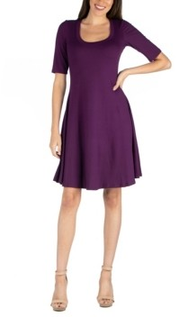 24seven Comfort Apparel Women's A-Line Dress with Elbow Length Sleeves