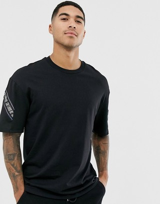 Jack and Jones Core t-shirt with tape and mesh detail in black