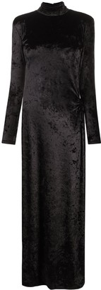 Amen Crystal-Trimmed Velvet Maxi Dress