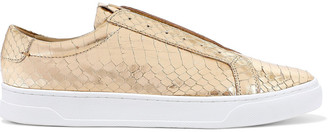 Donna Karan Caya Metallic Snake-effect Leather Slip-on Sneakers