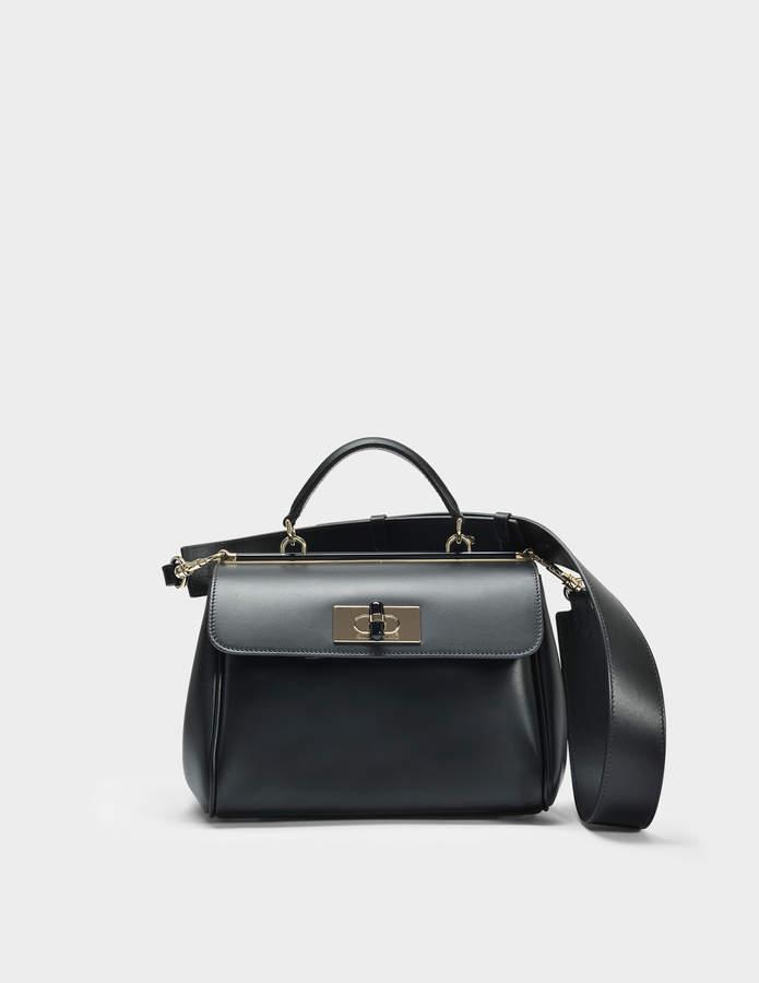 Giorgio Armani Borsa Medium Hand and Crossbody Bag in Black Calfskin