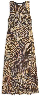 Topshop Tiger Print Sleeveless Mesh Midi Dress