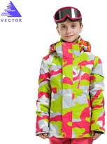 Vector Windproof Waterproof Warm Snowboard Hooded Coat Children Ski Jacket S