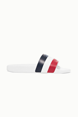 Moncler Striped Rubber Slides - White