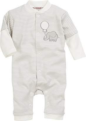 BEIGE Schnizler Unisex Baby Schlafoverall Elefant geringelt, Oeko-Tex Standard 100 Sleepsuit, Natur)
