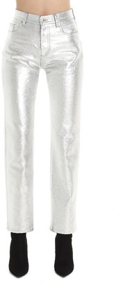 MSGM Metallic Effect Coated Ankle Jeans