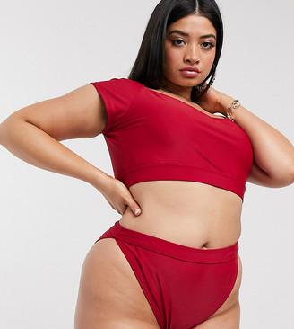 South Beach Curve Exclusive mix and match tank bikini top in plum
