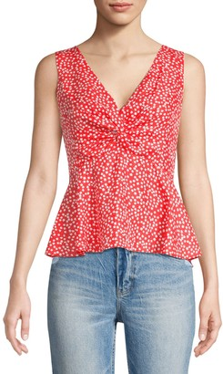 Rebecca Taylor Malia Twist Sleeveless Floral Tank Top