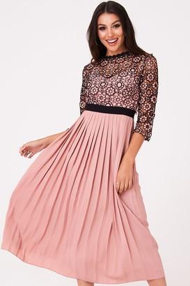 Little Mistress Ariane Apricot Crochet Lace Midaxi Dress