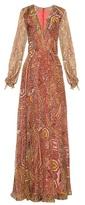 Etro Paisley-print V-neck silk-blend dress