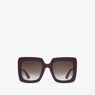 Gucci GG0328S (Shiny Solid Burgundy/Brown Gradient) Fashion Sunglasses
