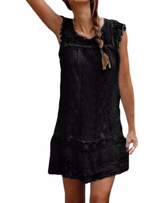 Zanzea Women's Summer Lace Crochet Sleeveless Long Tops Double Layer Hollow Sheer Cap Causal Shirt Short Mini Dresses