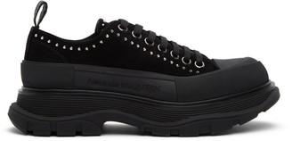 Alexander McQueen SSENSE Exclusive Black Suede Stud Tread Slick Platform Boots