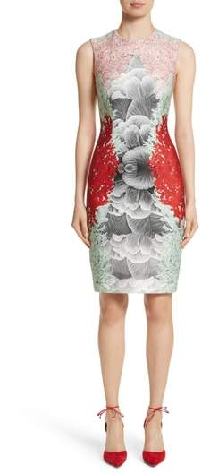 Yigal Azrouel Coral Print Scuba Sheath Dress