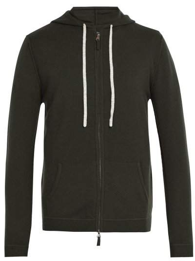 Allude Zip Up Wool Blend Hooded Sweater - Mens - Khaki