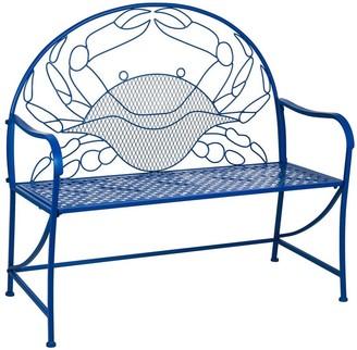 Evergreen Blue Crab Metal Garden Bench - 45x29x21.25