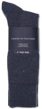 Tommy Hilfiger Men's 4-Pack Flat-Knit Dress Socks