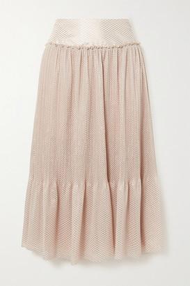 See by Chloe Tiered Metallic Plisse-chiffon Midi Skirt
