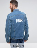 Reclaimed Vintage Inspired Oversized Denim Jacket With Tour Back Print