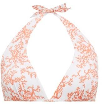 Heidi Klein Belize Coral-print Halterneck D-g Cup Bikini Top - Red White
