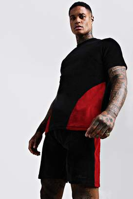 MAN Embroidered Colour Block Velour Short Set