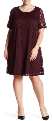Sharagano Lace A-Line Dress (Plus Size)