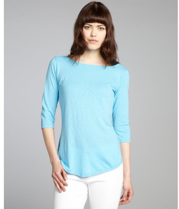 Rebecca Beeson turquoise striped cotton blend scoop back top