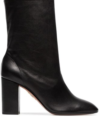 Aquazzura black 'Boogie 85' scrunch leather boot