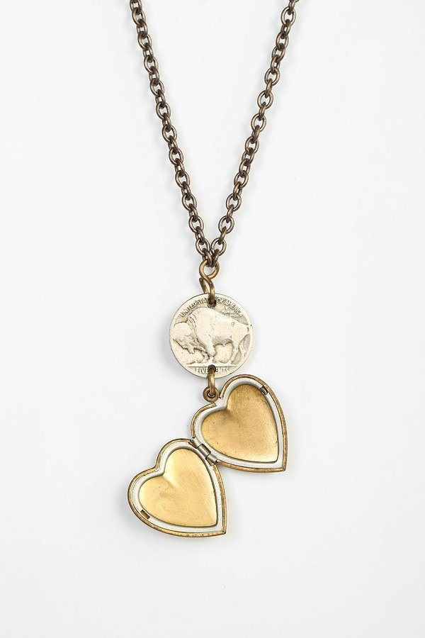 Urban Outfitters Lux Revival X Urban Renewal Lux Revival Buffalo Nickel Heart Necklace
