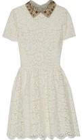 Valentino Embellished Cotton-blend Corded Lace Mini Dress