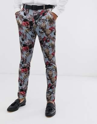 Asos Design DESIGN super skinny suit pants in blue floral print velvet