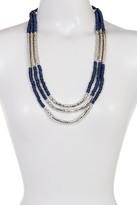 Joe Fresh Long Wood & Metal Multi Strand Necklace
