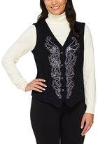 Bob Mackie Black Smart Denim Sequined & Embroidered Vest
