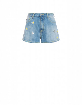 Love Moschino Stretch Denim Shorts With Hearts Woman Blue Size 38 It - (4 Us)