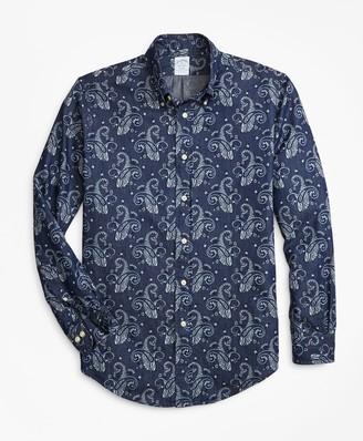 Brooks Brothers Regent Fit Paisley Print Denim Indigo Sport Shirt
