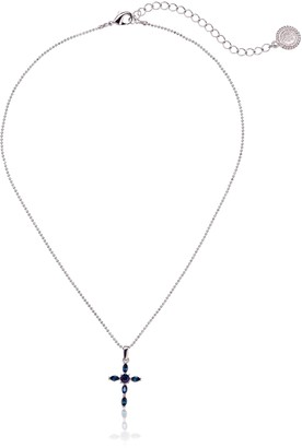 """LIBRARY The Vatican Collection Silver-Tone Blue Crystal Cross Pendant Necklace 16"""""""