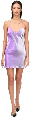 Area Stretch Lame Crystal Choker Mini Dress