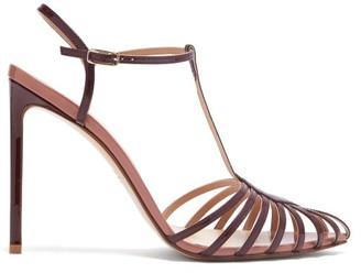 Francesco Russo Caged Leather Stiletto Sandals - Burgundy