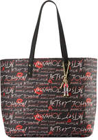 Betsey Johnson Allover Logo-Print Faux-Leather Tote Bag