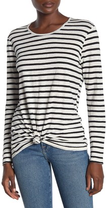 Frame Tied Up Stripe Linen Long Sleeve T-Shirt